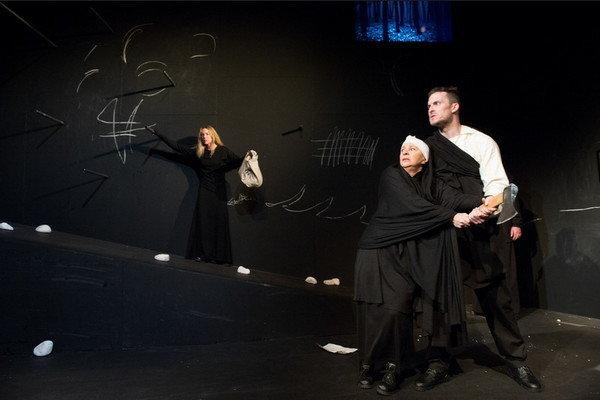 L-R: Diana Mórová (Eva), Kamila Magálová (Matka), Ján Koleník (Bača Ondrej) in Ivan Stodola's play Shpeherd's Wife in the Slovak National Theatre