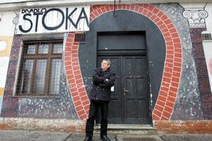 Blaho Uhlár, founder of the Stoka theatre, in front of the theatre in 2006.