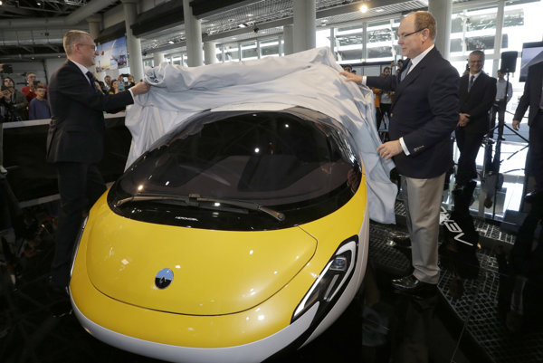 Prince Albert II of Monaco (r) and Juraj Vaculík, CEO and co-founder of AeroMobil, unveiled the latest prototype of a flying car in Monaco on April 20.