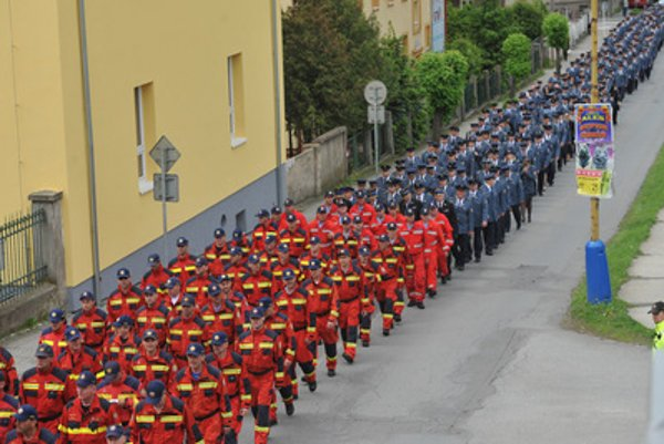 The furneral march of the two deceased firemen-rescuers who died in the helicopter crash (Radoslav Lacko and Peter Toďor). from the fire station to the Concathedral of St Nicolas in Prešov, May 16.