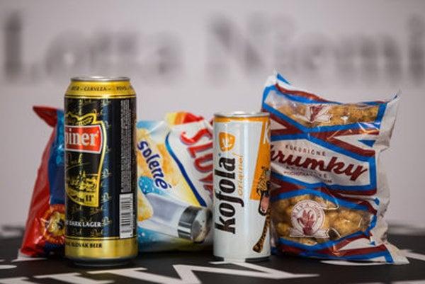 Urpiner beer, Slovakia potato chips, Kofola soft drink and Chrumky peanut puffs.... Slovak brands with Slovak design.