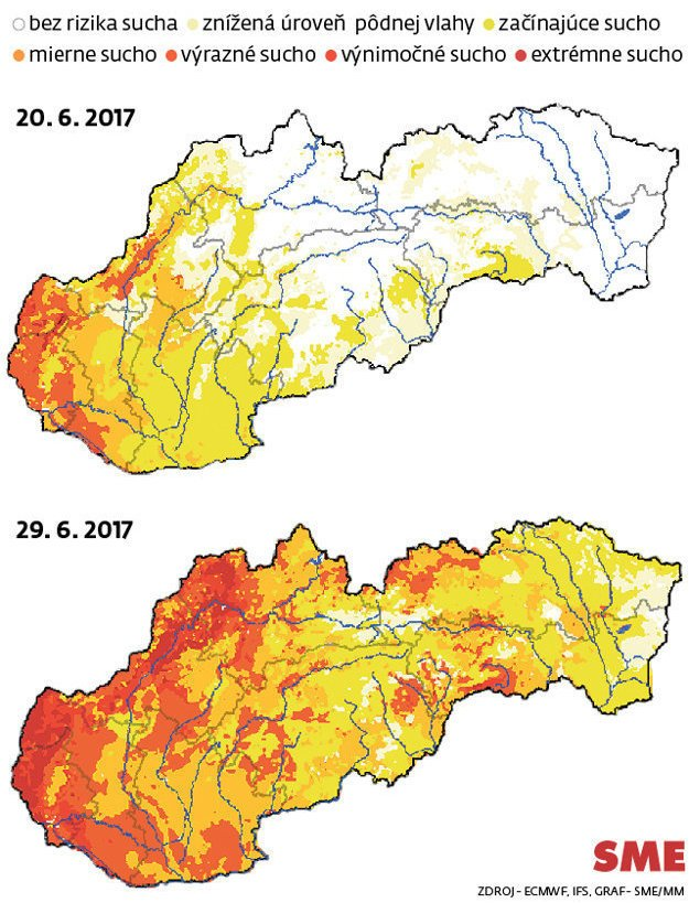 Maps of droughts on the territory of Slovakia, June 20 and June 29, 2017.