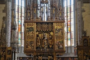 The reconstructed gothic altar by Master Paul in St Jacob's Basilica in Levoča.