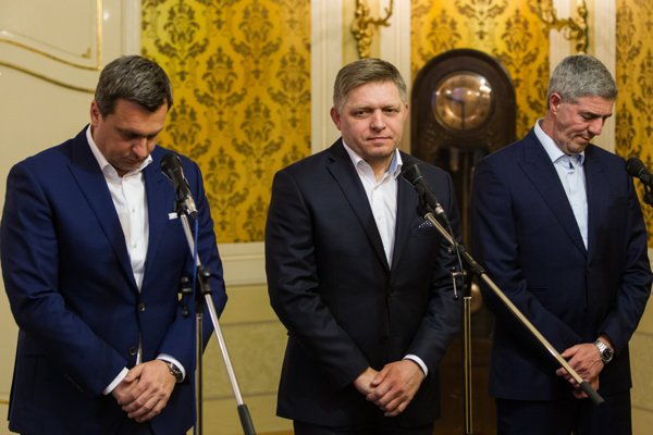 The ruling coalition (L-R: SNS-Andrej Danko, Smer-Robert Fico. Most-Híd-Béla Bugár).