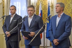 Andrej Danko, Robert Fico and Béla Bugár, from left