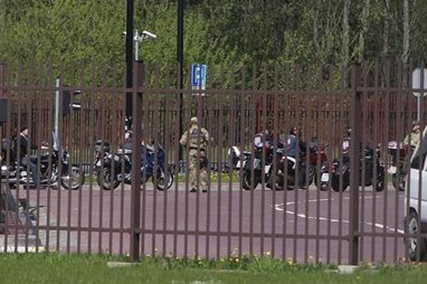 A group of Russian bikers who wanted to reach Berlin to mark 70th anniversary of Soviet contribution to the victory over Nazi Germany return to Belarus after being denied entry into Poland on administrative grounds, in Terespol, Poland on April 27.