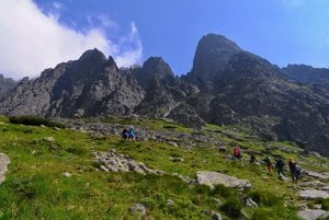 Hiking in the Velická Valley in the High Tatras.