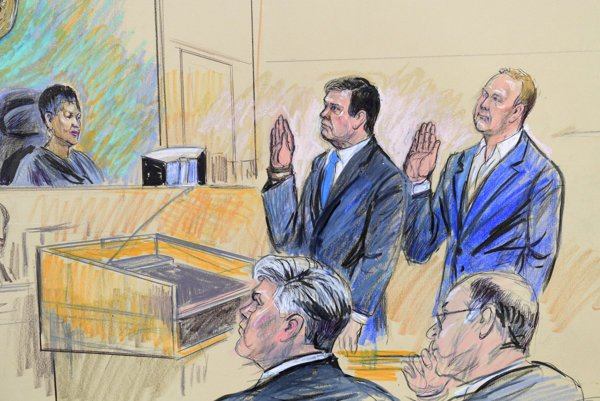 A court artist drawing shows President Donald Trump's former campaign chairman, Paul Manafort, center standing and Manafort's business associate, Rick Gates, in federal court in Washington, Monday, Oct. 30, 2017, before U.S. Magistrate Judge Deborah A. Robinson.