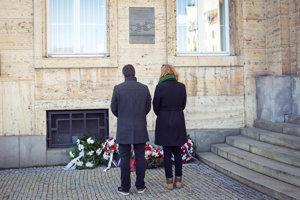 The memorial tablet on the main building of the Comenius University (UK) in Bratislava