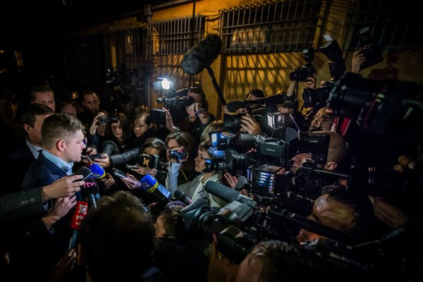 PM Robert Fico questioned by media.