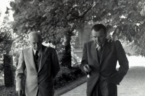 In this June 1947 photo, Czechoslovak President Edvard Beneš (L) talks to his future successor, communist leader Klement Gottwald.