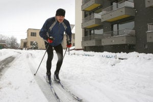 Cross-country skiing can be done in a town/city as well, illustrative stock photo.