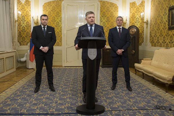 Coalition leaders (l-r): Andrej Danko, Robert Fico and Béla Bugár