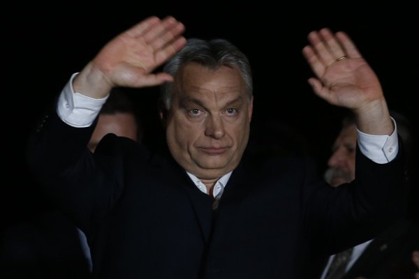 Viktor Orban celebrates his election victory.