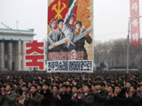 North Koreans gather at the Kim Il Sung Square to celebrate a satellite launch on February 8 in Pyongyang, North Korea.