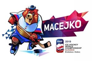 Mascot of 2019 IIHF Ice Hockey World Championship Slovakia, bear Macejko.