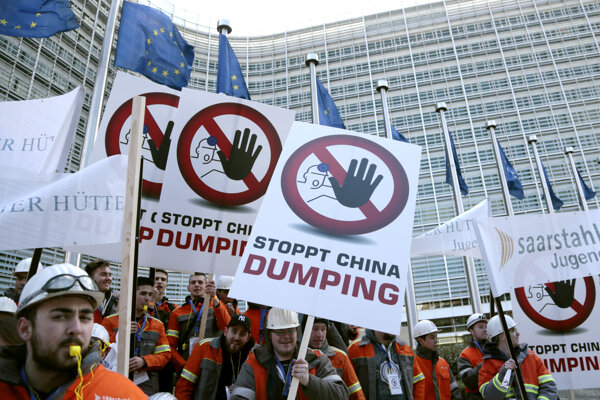 More than 5,000 steelworkers gathered in Brussels.