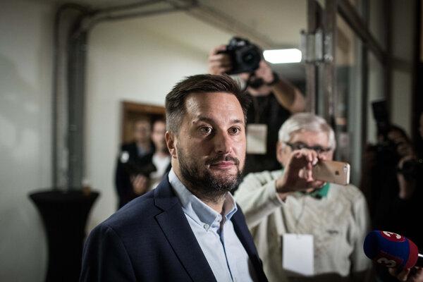 Matúš Vallo during the election night.