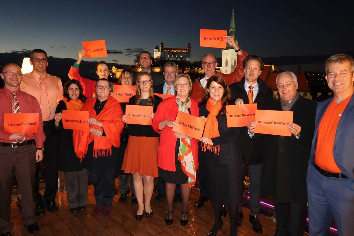 Ambassadors to Slovakia marking the UN campaign raising awareness of gender-based  violence. 32ded99621d