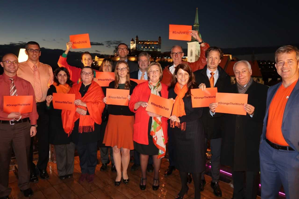 Ambassadors to Slovakia marking the UN campaign raising awareness of gender-based violence.