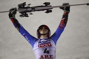 Petra Vlhová celebrates after winning the women's giant slalom on February 14.