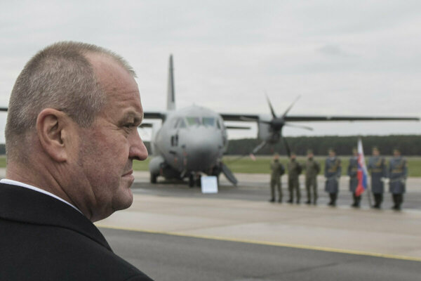 Defence Minister Peter Gajdoš visits the military airport in Kuchyňa, western Slovakia.
