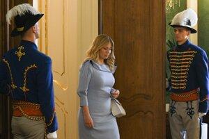 Zuzana Caputova enters the Presidential Palace.