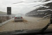 The D1 highway got flooded after a supercell hit Levoča in eastern Slovakia.