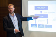 Jan-Eike Andresen of Financialright Claims at the press conference in Bratislava on July 10.
