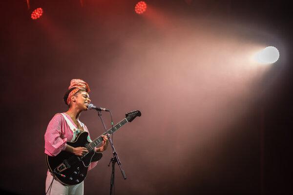 Lianna La Havas playing Pohoda Festival at Trenčín airport in Slovakia.