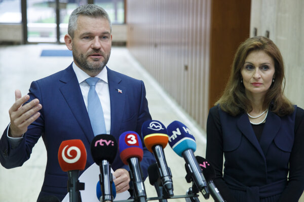 PM Peter Pellegrini and Health Minister Andrea Kalavská after the government approved the reform of hospitals.