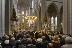 The ceremonial mass in St Elizabeth's Cathedral in Košice.