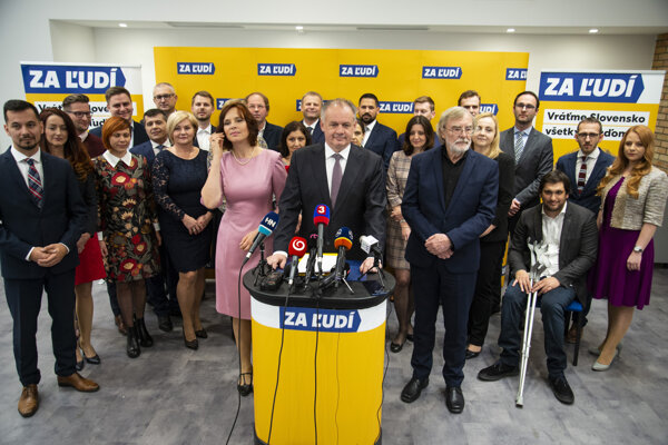 Ex-Slovak President Andrej Kiska (at the stand) presents candidates appearing on his party Za ľudí (For the People)'s slate in the 2020 parliamentary elections. Vice-Chair Veronika Remišová (left to Kiska) and blogger Ján Benčík (right to Kiska) have been put on the slate, too