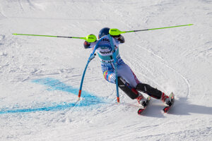 Petra Vlhová of Slovakia competes during the women's parallel slalom semi-final at the FIS Alpine Ski World Cup in St Moritz, Switzerland.