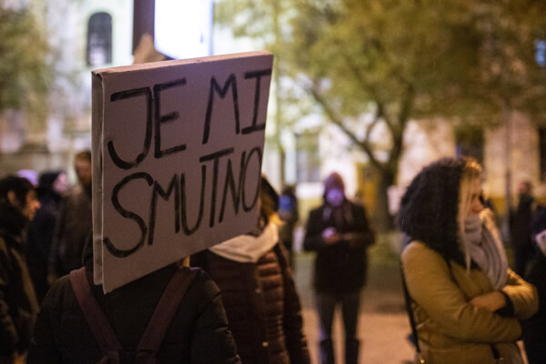 """I am sad"" reads a billboard from a late 2018 protest gathering in Bratislava, speaking the minds of many of Slovakia's inhabitants in 2019."
