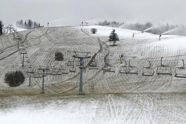 Artificial snow is being made at the ski resort Vrátna Malá Fatra-Paseky, central Slovakia, on December 2, 2019.