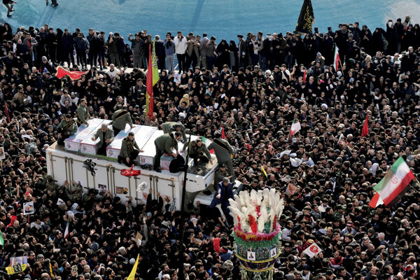 Thousands of Iranians take part in a funeral service for Iran's General Qasem Soleimani on January 6, 2019, in Tehran, Iran.