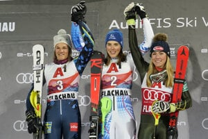 From left: second placed Sweden's Anna Swenn Larsson, the winner Slovakia's Petra Vlhová, and third placed United States' Mikaela Shiffrin celebrate after completing an alpine ski, women's World Cup slalom in Flachau, Austria.