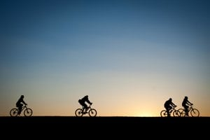 Cycling at dawn on a route along the Danube River.