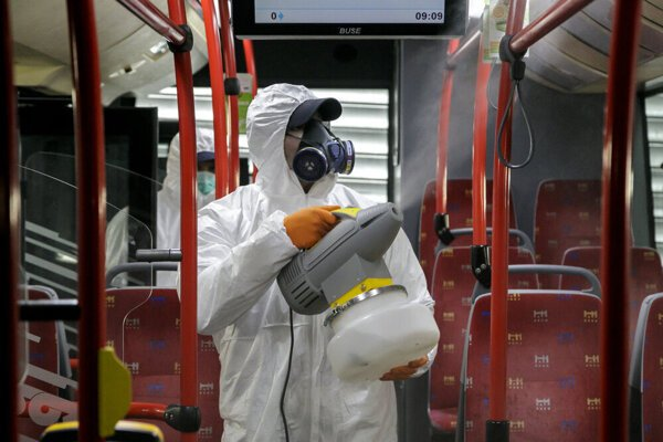 Disinfecting the buses in Bratislava on March 9.