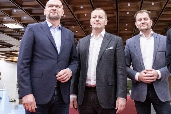 From the left to the right: Richard Sulík (SaS), Boris Kollár (Sme Rodina), and Igor Matovič (OĽaNO).