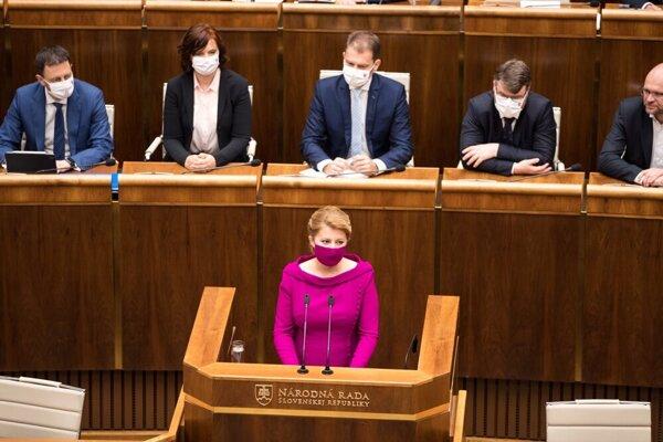 President Čaputová speaking in the parliament