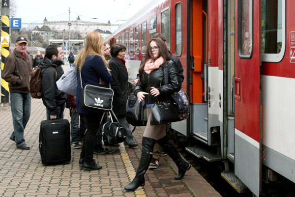 Travelling by trains, illustrative stock photo.