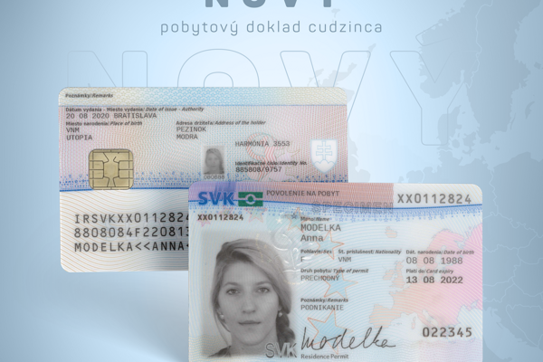 The design of new residence cards for foreigners in Slovakia.