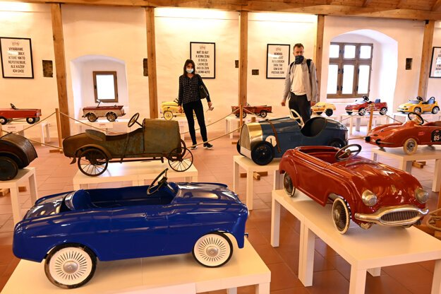 A new exhibition of children's pedal cars opened at Trenčín Castle.