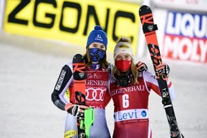 Winner Petra Vlhová of Slovakia, left, and third placed Katharina Liensberger of Austria celebrate at the end of the FIS Alpine Ski World Cup women's slalom race at the Levi ski resort in Filand on November 22, 2020.