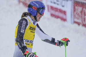 Slovakia's Petra Vlhová reacts after completing an alpine ski, women's World Cup giant slalom in Courchevel, France.