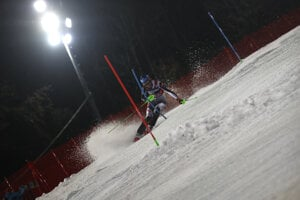 Slovakia's Petra Vlhová speeds down the course during the second run of an alpine ski, women's World Cup Slalom, in Zagreb, Croatia.