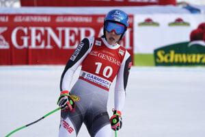 Slovakia's Petra Vlhová reacts in the finish area of an alpine ski, women's World Cup super-G race in Garmisch-Partenkirchen, Germany.