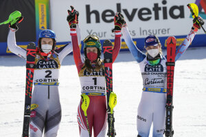Austria's Katharina Liensberger, center, winner of the women's slalom, poses with second placed Slovakia's Petra Vlhová, left, and third placed United States' Mikaela Shiffrin, at the alpine ski World Championships in Cortina d'Ampezzo, Italy, Saturday, Feb. 20, 2021.